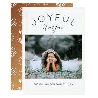 Ouro alegre do cartão com fotos | do ano novo