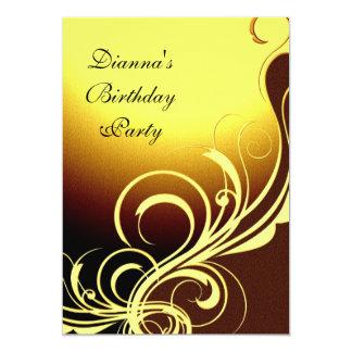 Ouro amarelo elegante Brown do partido do convite