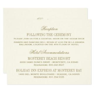Ouro antigo do cartão de detalhes | do casamento convite 10.79 x 13.97cm