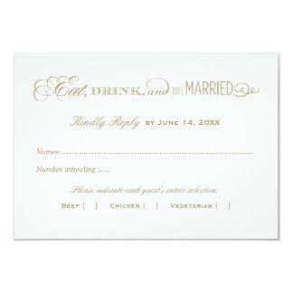 Ouro antigo do cartão de resposta | do casamento convite 8.89 x 12.7cm