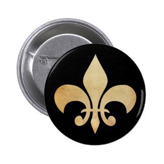 Ouro antigo e botão preto da flor de lis bóton redondo 5.08cm