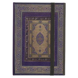 Ouro antigo na capa do livro decorativa roxa