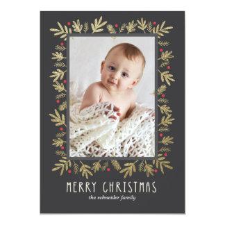 Ouro botânico festivo do cartão com fotos do Feliz