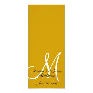 Ouro & branco do monograma do programa da igreja convite 10.16 x 23.49cm