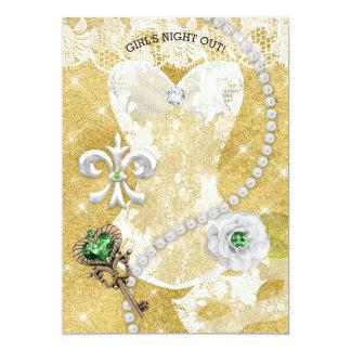 Ouro branco do verde da máscara do chá de panela convite 12.7 x 17.78cm