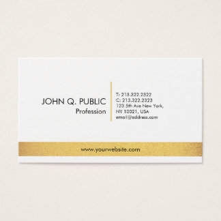 Ouro branco elegante profissional liso simples cartão de visitas