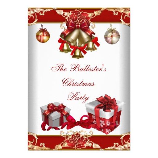 Ouro branco vermelho da festa de Natal Convite Personalizados