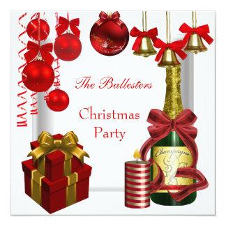 Ouro branco vermelho da festa de Natal do feriado Convite Quadrado 13.35 X 13.35cm