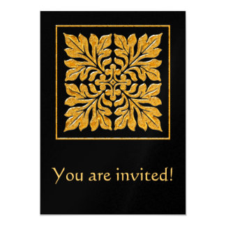Ouro brilhante brilhante do azulejo antigo do convites personalizados