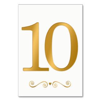 Ouro brilhante elegante número metálico 10 do cartão