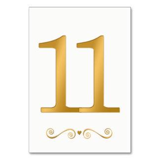 Ouro brilhante elegante número metálico 11 do cartão