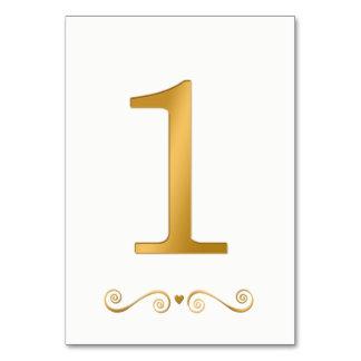 Ouro brilhante elegante número metálico 1 do falso cartão