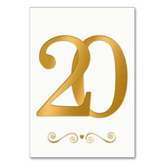 Ouro brilhante elegante número metálico 20 do cartão