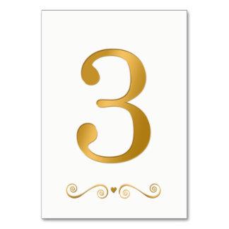 Ouro brilhante elegante número metálico 3 do falso cartão