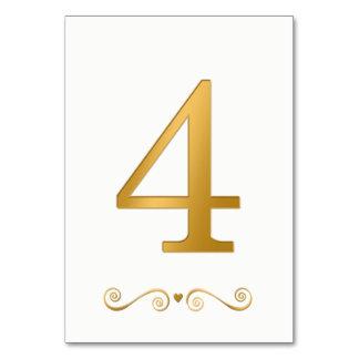 Ouro brilhante elegante número metálico 4 do falso cartão
