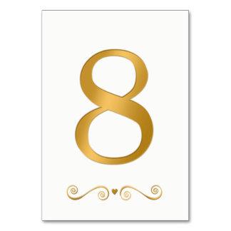 Ouro brilhante elegante número metálico 8 do falso cartão