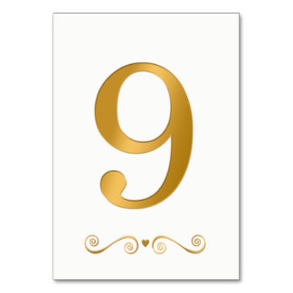 Ouro brilhante elegante número metálico 9 do falso cartão