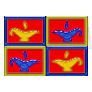 Ouro & cartão azul de Diwali das lâmpadas