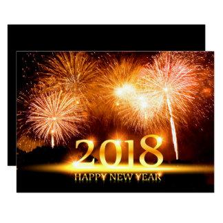 Ouro cartão de 2018 fogos-de-artifício do feliz