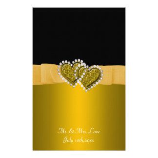 Ouro & carvão que travam os corações que Wedding Papel Personalizado