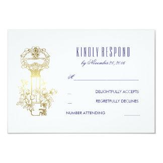 Ouro chave e marinho do vintage que Wedding o Convite 8.89 X 12.7cm