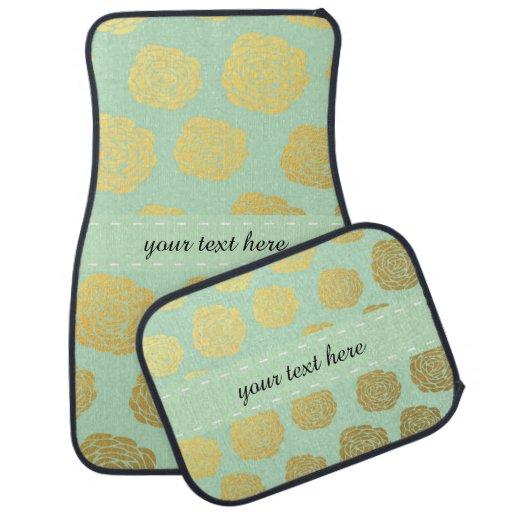 Ouro chique da hortelã floral tapete para carro