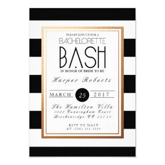 Ouro chique & formal & preto da festança | de convite 12.7 x 17.78cm
