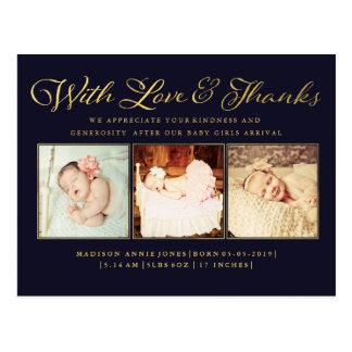 Ouro com amor & cartão da foto do bebê dos cartão postal