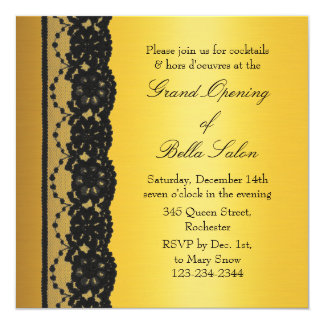 Ouro com grande inauguração do negócio do laço convite quadrado 13.35 x 13.35cm