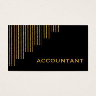 Ouro, contador das listras verticais do preto cartão de visitas