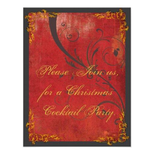 Ouro & convite vermelho da festa de Natal