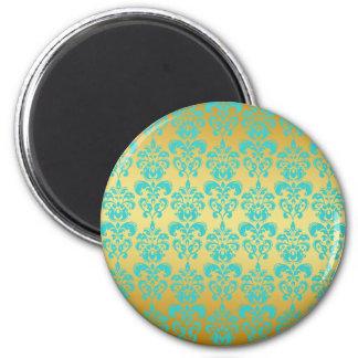 Ouro, cor damasco azul 2 do Aqua Ímã Redondo 5.08cm