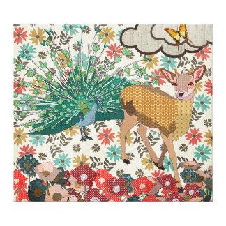 Ouro cor-de-rosa & arte floral das canvas do pavão impressão de canvas envolvida