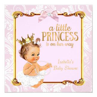 Ouro cor-de-rosa branco da princesa chá de fraldas convite quadrado 13.35 x 13.35cm