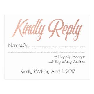 Ouro cor-de-rosa, cartão Wedding de RSVP