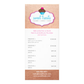 Ouro cor-de-rosa da padaria do cupcake da LISTA 10.16 X 22.86cm Panfleto