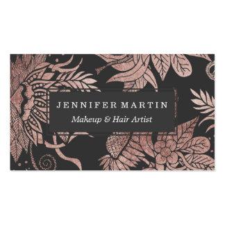 Ouro cor-de-rosa do chique e desenhos florais cartão de visita