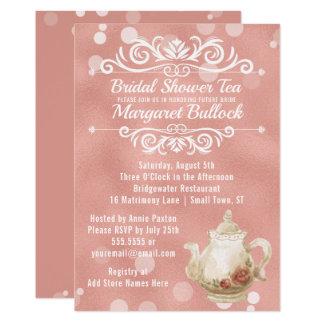 Ouro cor-de-rosa do convite do tea party do chá de