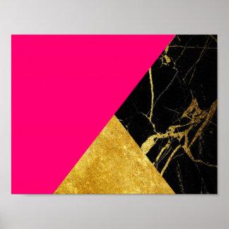Ouro cor-de-rosa e poster básico de mármore preto
