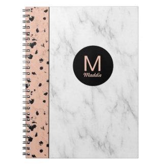 Ouro cor-de-rosa na moda e mármore com monograma cadernos espiral