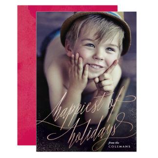 Ouro cor-de-rosa o mais feliz do cartão com fotos