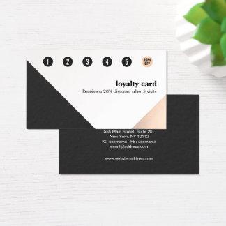 Ouro cor-de-rosa, preto branco, lealdade cartão de visitas