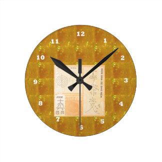 Ouro cura de REIKI: Ouro do CRISTAL dos sinais dos Relógio Redondo