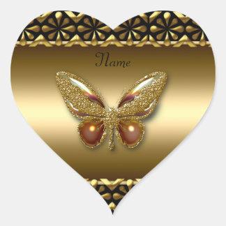Ouro da etiqueta do coração na borboleta do ouro adesivo coração