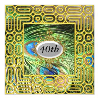Ouro da festa de aniversário de Peackok do ouro Convite Quadrado 13.35 X 13.35cm