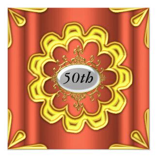 Ouro da festa de aniversário do caramelo do ouro convite quadrado 13.35 x 13.35cm