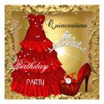 ouro da festa de aniversário do quinceanera vestid convites personalizados