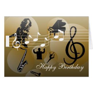 Ouro da música do amor do cartão de aniversário