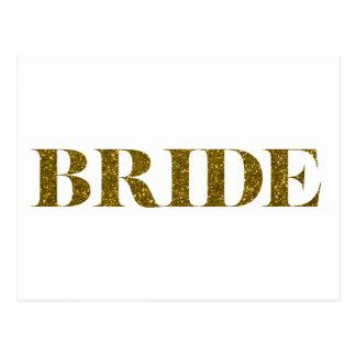 Ouro da noiva do brilho cartão postal