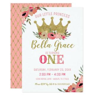 Ouro da princesa Coroa Aniversário Convite